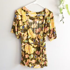 Anthropologie Ric Rac Floral Wrap Front Blouse Tie